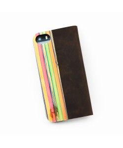 Hoentjen Creatie - Houten design flip case, iPhone 5 / 5S – Rainbow bamboo cover