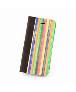 Hoentjen Creatie - Houten design flip case, iPhone SE – Rainbow bamboo cover