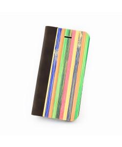 Hoentjen Creatie - Houten design flip case, iPhone SE – Rainbow bamboo cover