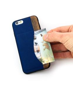 Houten TPU case, iPhone 6 / 6s - Padouk, esdoorn en blauw PU-leer