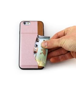 Houten TPU case, iPhone 6 / 6s - kersen hout en roze PU-leer