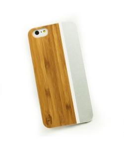 iPhone 6+ design hoesje: Bamboo met wit kunstof  en zilver aluminium