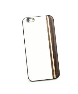 Houten TPU case, iPhone 6 Plus / 6s Plus - Padouk, esdoorn en wit leer