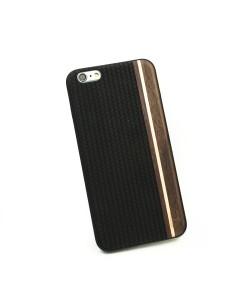 Houten TPU case, iPhone 6 Plus / 6s Plus - Padouk, esdoorn en zwart leer