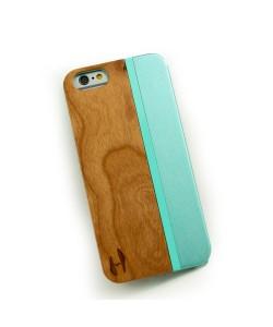 Hoentjen Creatie, Hout met metaal design hoesje iPhone 6 - kersenhout, aquamarine