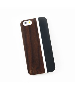 out met metaal design hoesje iPhone 6 / 6S - padouk & black metal