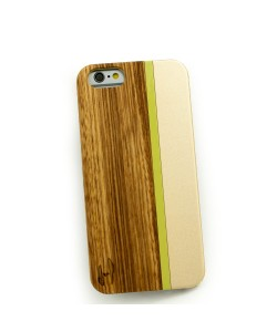 Hout met metaal design hoesje iPhone 6:  zebranohout, champange