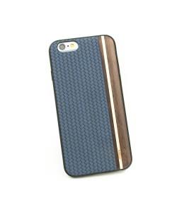 Houten TPU case, iPhone 6/6S - Padouk, esdoorn en blauw leer