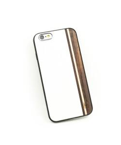 Houten TPU case, iPhone 6/6S - Padouk, esdoorn en wit leer
