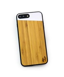 Houten TPU case, iPhone 7 plus - Bamboe en grijs metaal schuin