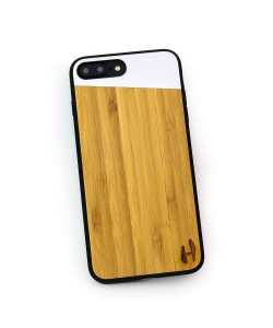 Hoentjen Creatie, Houten TPU case, iPhone 8 plus - Bamboe en grijs metaal schuin