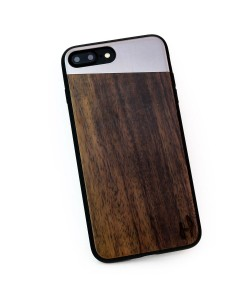 Hoentjen Creatie, Houten TPU case, iPhone 8 plus - Padouk en grijs metaal schuin