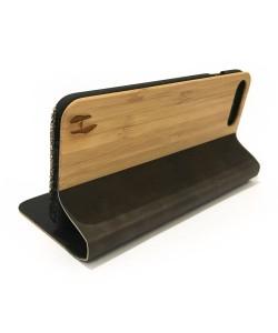 Houten design flip case, iPhone 8 plus – Bamboe met leer