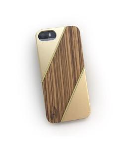 Houten hardcase  iPhone 5/ 5S - Zebranohout, champange aluminium