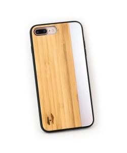 Hoentjen Creatie, Houten TPU case, iPhone Se 2020 - Bamboe en grijs metaal