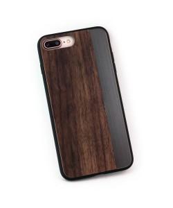 Hoentjen Creatie, Houten TPU case, iPhone 8 plus - Padouk en grijs metaal