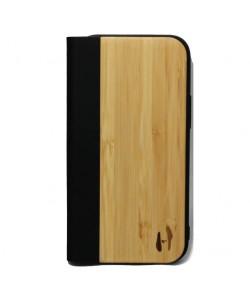 Houten design flip case, iPhone 12 mini – Bamboe met zwart leer