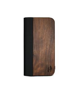 Houten design flip case, iPhone 12 mini – Noten met zwart leer