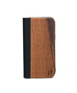 Houten design flip case, iPhone 12 pro – Noten met zwart leer