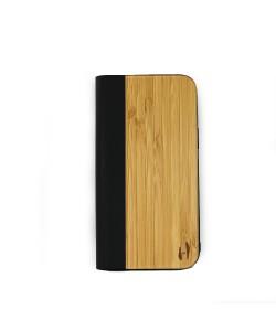 Houten design flip case, iPhone 12 pro max – Bamboe met zwart leer