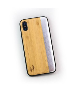 Houten TPU case, iPhone X / XS - Bamboe en grijs metaal