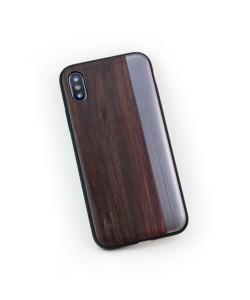 Houten TPU case, iPhone X / XS - Padouk en grijs metaal