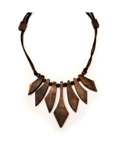 Hoentjen creatie - houten ketting, collier notenhout