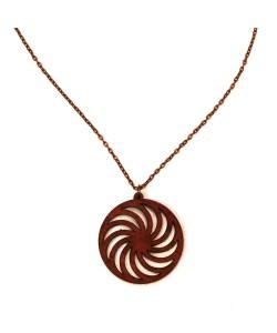 Hoentjen creatie - houten ketting, spiraal mahonie patroon