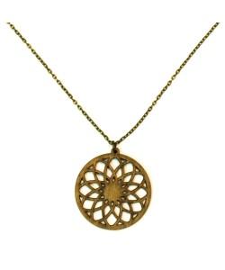 Hoentjen creatie - houten ketting, bloem mandala kakigroen