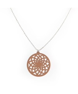 houten ketting, ster taupe patroon