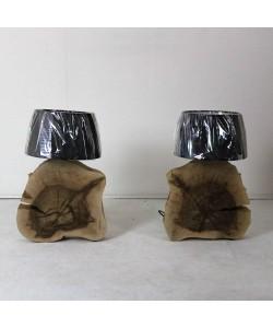 Houten voetlamp, notenhout - Hoentjen Creatie