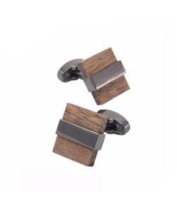 Hoentjen Creatie, manchetknopen - Notenhout met donker metaal