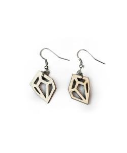 Hoentjen creatie - Houten oorbel, diamant breed klein