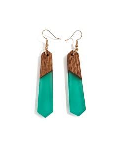houten oorbellen met epoxy, Mahonie en turquoise