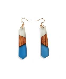 houten oorbellen met epoxy, Mahonie blauw