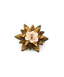 Hoentjen, houten Revers bloem / broche Beige
