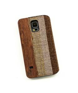 Houten retro-design flip case, Samsung Galaxy S5 - Bamboe met stof