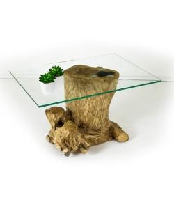 Hoentjen Creatie, salontafel van glas met hout