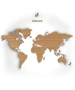Houten wereldkaart, zebrano 133 cm,