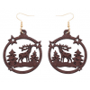 houten oorbellen, Noten hout kerst