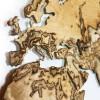 Houten 3D wereldkaart met bergen, Berkenhout