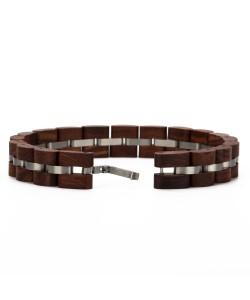 Hoentjen, houten armband - palissander RVS, 12mm
