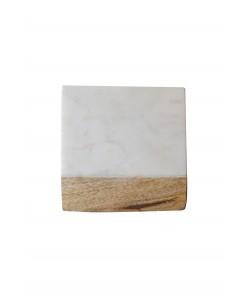 4 Houten/Marmeren Onderzetters Wit