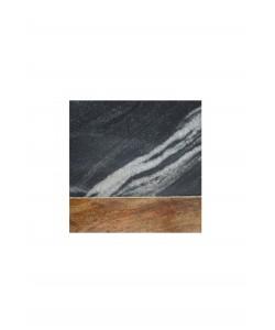 4 Houten/Marmeren Onderzetters Zwart/Grijs
