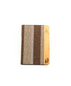Houten retro-design iPad AIR bookcase - Bamboe met stof