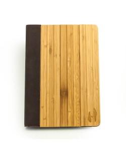 Houten iPad AIR 2 bookcase - bamboe & bruin leer