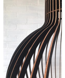 Hoentjen Creatie, Houten lamp - Grote bolvormige hanglamp zwart