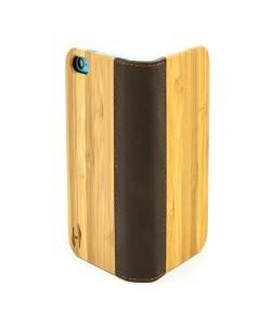 Houten flip case, iPhone 5C – Bamboe en zwart Leer
