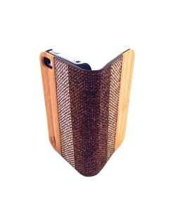 Houten retro-design flip case, iPhone 4 / 4S – Bamboe met stof