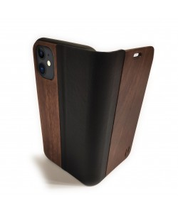 Houten design flip case, iPhone 11 – Noten met zwart leer